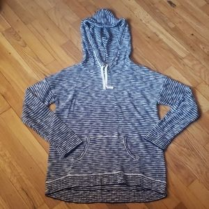 Blue & White Stripped Hoodie By Pink Rose Medium